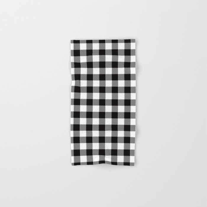 90 S Buffalo Check Plaid In Black And White Hand Bath Towel By Elliottdesignfactory Society6