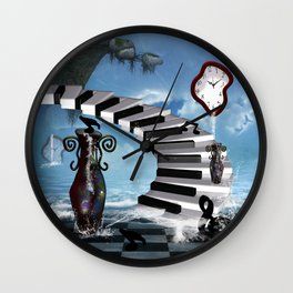 Piano on the beach with clef Wall Clock