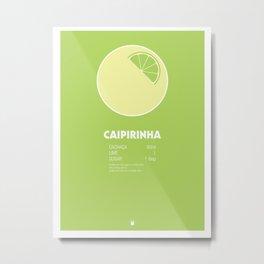 Caipirinha Cocktail Recipe Poster (Metric) Metal Print