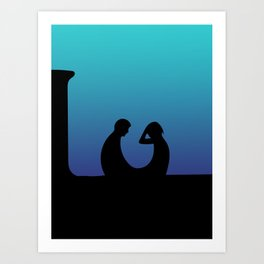 Silhouettes Lovers in the Blue Night  Art Print