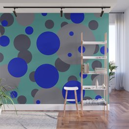 bubbles blue grey turquoise design Wall Mural