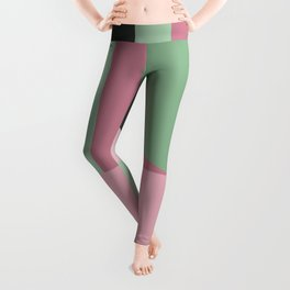 Art Deco Composition Pink and Green #5 Leggings