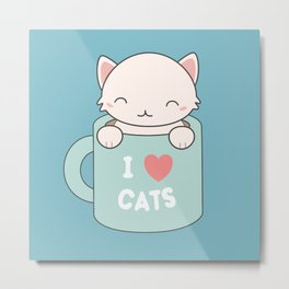 Kawaii Cute I Love Cats Metal Print