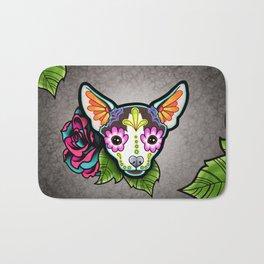 Chihuahua in Moo - Day of the Dead Sugar Skull Dog Bath Mat