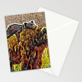Mama bear carries her cub Stationery Cards