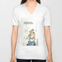 toilet V-neck T-shirts featuring Toilet Crisis by Dino