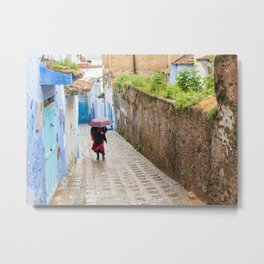 Rainy Day in Chefchaouen, The Blue City of Morocco Metal Print