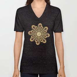 Om Mandala, Purple and Gold Fractal, Spiritual Gift, Yoga Lifestyle Unisex V-Neck