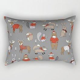 Christmas winter woodland animals foxes deer bunnies moose holiday cute design Rectangular Pillow