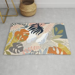 Tropical Foliage Pattern 1 - Retro Boho Rug