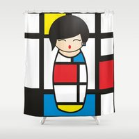 mondrian Shower Curtains featuring Kokeshi Mondrian by Pendientera
