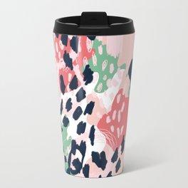 Leia - abstract painting cute minimal navy coral mint pastels painterly boho chic decor Travel Mug