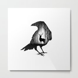 THE RAVEN AND THE DEER Metal Print