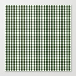 Small Dark Forest Green and White Gingham Check Canvas Print