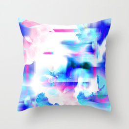 Digital Floral Manipulation Throw Pillow