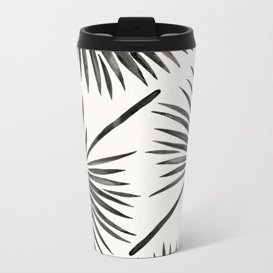 Tropical Fan Palm – Black Metal Travel Mug