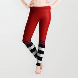 Red Blue: Black & White Stripe Leggings