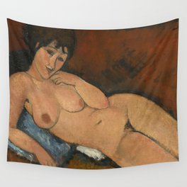 Amadeo Clemente Modigliani - Nude on a Blue Cushion (1917) Wall Tapestry