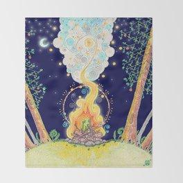Woodland Campfire Throw Blanket