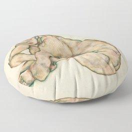 """Egon Schiele """"Crouching nude girl"""" Floor Pillow"""