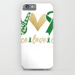Peace Love Cure Kidney Disease Awareness Kidney Disease Survivor iPhone Case