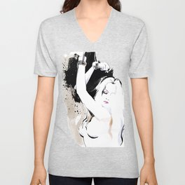 Beauty portrait, Woman slave handcuffs, Nude art, Black and white, Fashion painting Unisex V-Neck