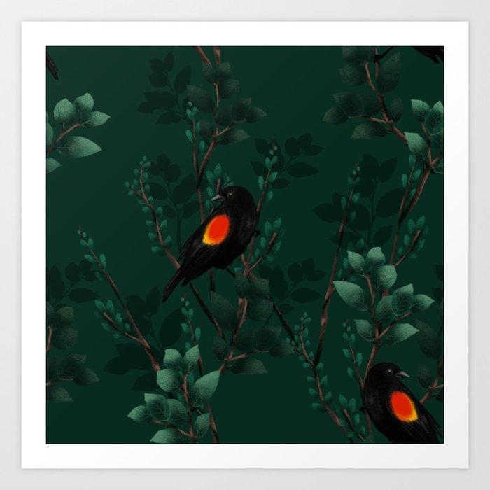 Red-Winged Blackbird Pattern Art Print