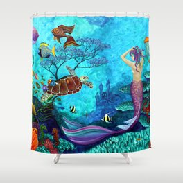 A Fish of a Different Color - Mermaid and seaturtle Shower Curtain