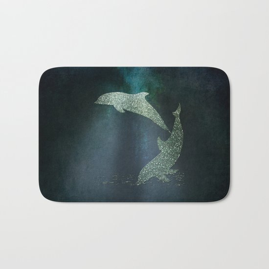 Playing glitter effect Dolphins- Dolphin Animal Sea Ocean #Society6 Bath Mat