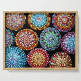 Colorful Mandala painted stones Serving Tray