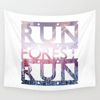 run Wall Tapestries featuring Run Forest Run by eARTh