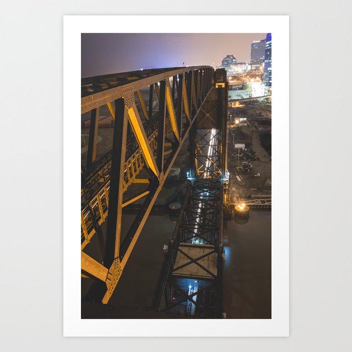 Lift Bridge at Night Art Print