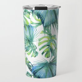Blue Jungle Leaves, Monstera, Palm #society6 Travel Mug