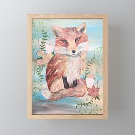 Fiona the Fox Mixed Media Painting Floral Framed Mini Art Print