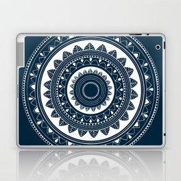 Ukatasana white mandala on blue Laptop & iPad Skin