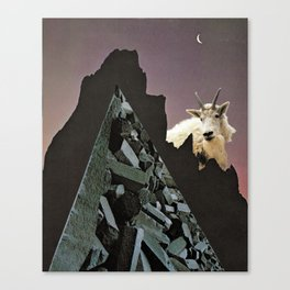 goat mountain | Paper Collage Surreal Stoner Rock Psychedelic Occult Art | Funny Animal Canvas Print