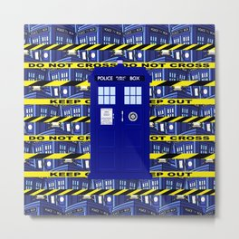 Tardis Yellow Line Metal Print
