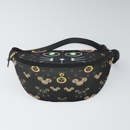 Merry black cat in the night and a mouse involved pop-art Fanny Pack