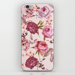 Blush Pink and Red Watercolor Floral Roses iPhone Skin