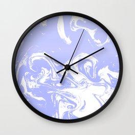 Suminagashi marble pastel blue minimal painting watercolor abstract Wall Clock