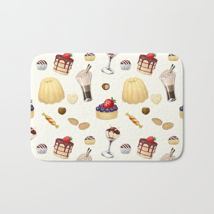 Sweet pattern with various desserts. Bath Mat