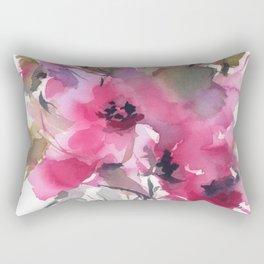 Red Water Blooms Rectangular Pillow