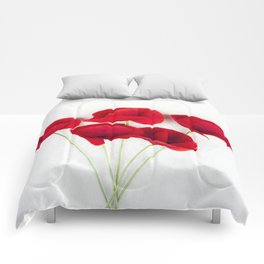 a Bunch Of Red Poppies Comforters