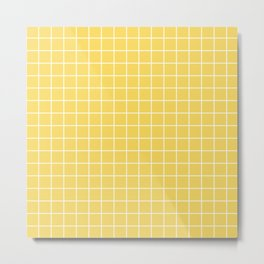 Naples yellow - yellow color - White Lines Grid Pattern Metal Print