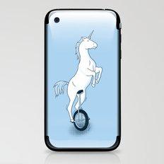 Unicorn on a unicycle - blue iPhone & iPod Skin