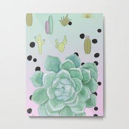 Succulents cactus pink green polka dots Metal Print