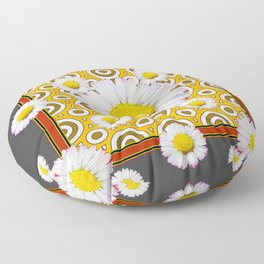 Charcoal Grey White Shasta  Daisy Patterns Brown Art Floor Pillow
