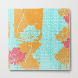 Crayon Bright Very Happy Floral Collage Abstract Metal Print