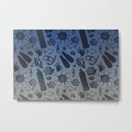 Scuba Dive Underwater Pattern Metal Print