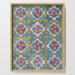 Floral tile yellow turquoise Serving Tray